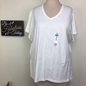 NWT JMS White 100% Cotton V-Neck T-Shirt 5X